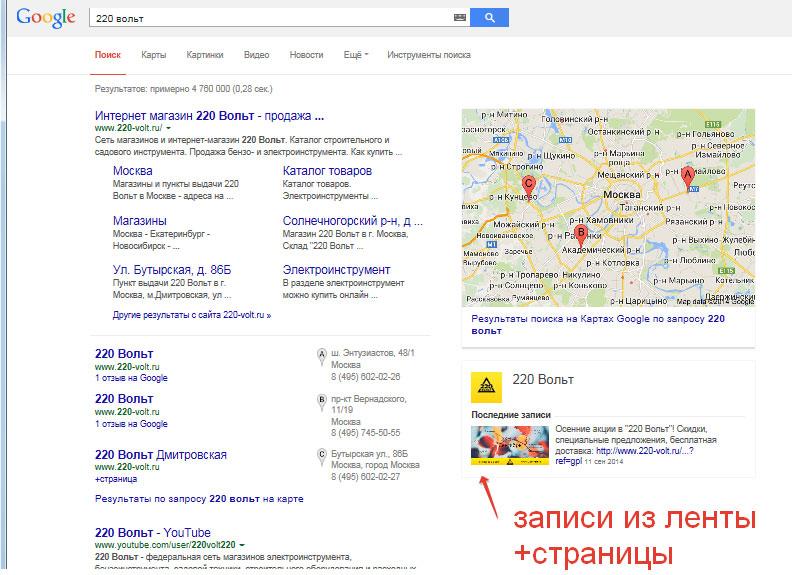 записи +страницы справа от поисковой выдачи